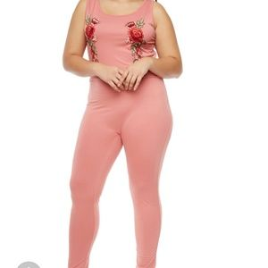 Pants - NWT Plus Size Rose Embroided Jumpsuit